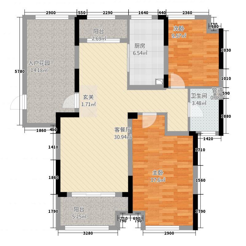 凯旋公馆221.20㎡C户型2室2厅1卫1厨