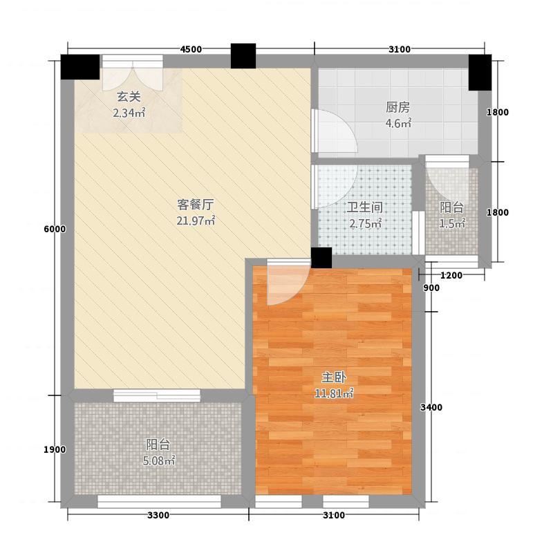 卓尔生活城21163.47㎡C户型1室1厅1卫1厨
