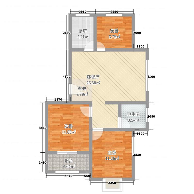 顺达珠江帝景7.72㎡户型3室2厅1卫1厨