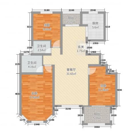 九鼎国际城3室1厅2卫1厨252627136.00㎡户型图