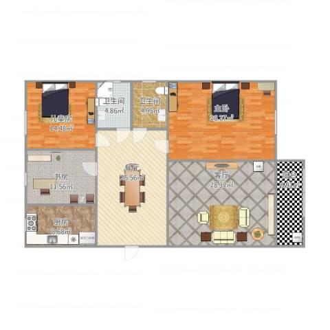 名门世家三期3室2厅2卫1厨175.00㎡户型图