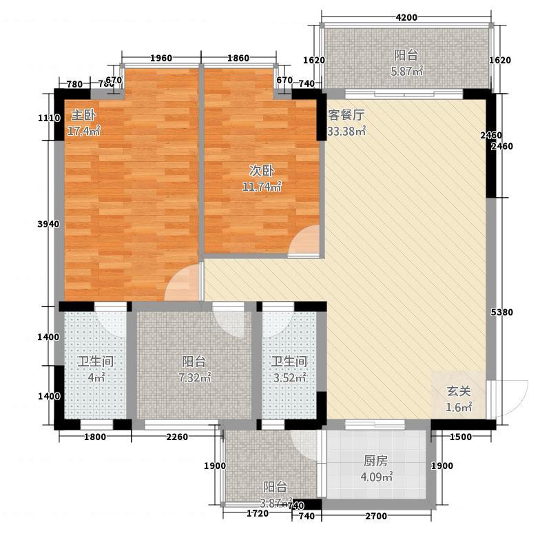 展鹏尚东国际3216.22㎡A户型3室2厅2卫1厨