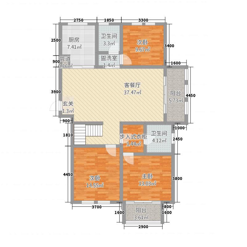 泉山逸品1146.52㎡标准层B1户型3室2厅2卫1厨