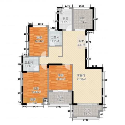 金融街中央领御3室1厅2卫1厨12135.00㎡户型图