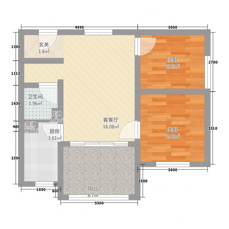 东方海逸半岛166.20㎡C1户型2室1厅1卫1厨