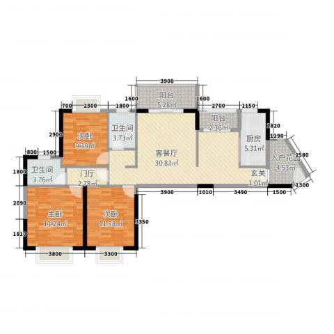 瑞海尚都3室1厅2卫1厨783116.00㎡户型图