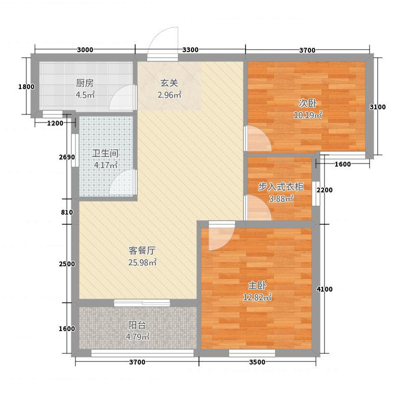 天诚缘8.82㎡高层9#楼东C-2型户型2室2厅1卫1厨