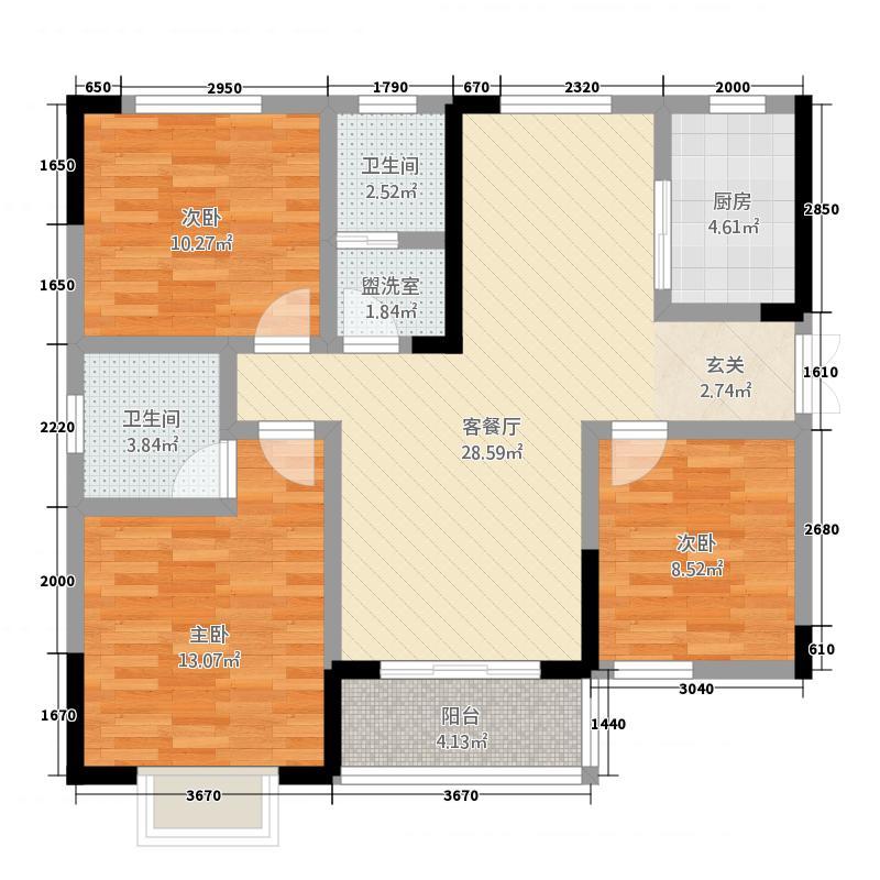 龙吟世家221113.88㎡二期22#楼户型3室2厅2卫1厨