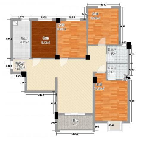 滨江星城4室1厅2卫1厨13414.00㎡户型图