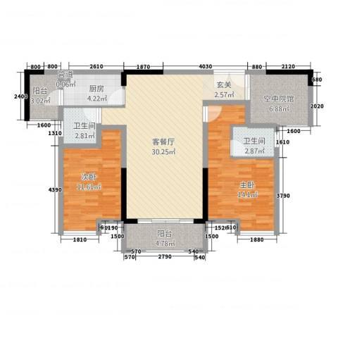 鸥鹏・天境2室1厅2卫1厨4211.00㎡户型图