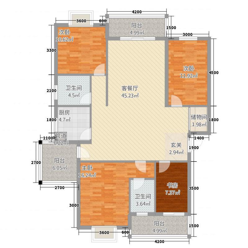 星城国际13.82㎡E区和园公馆J户型4室2厅2卫1厨