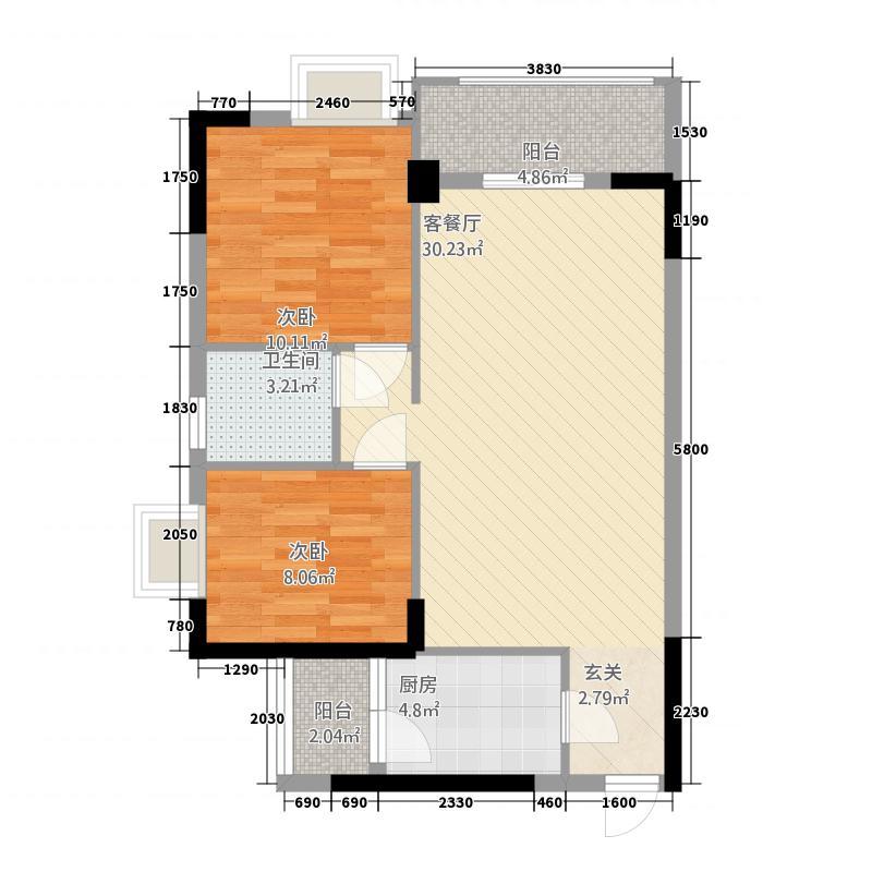 中业新城12282.22㎡12幢02户型2室2厅1卫1厨