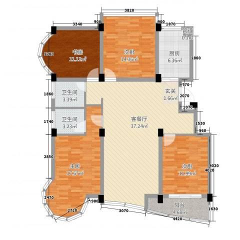 昆山花园4室1厅2卫1厨155.00㎡户型图