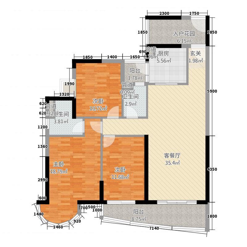 晟大海湾城1113.16㎡01单元A13室户型3室2厅2卫1厨