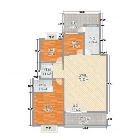 瑞海尚都3室1厅2卫1厨16136.00㎡户型图