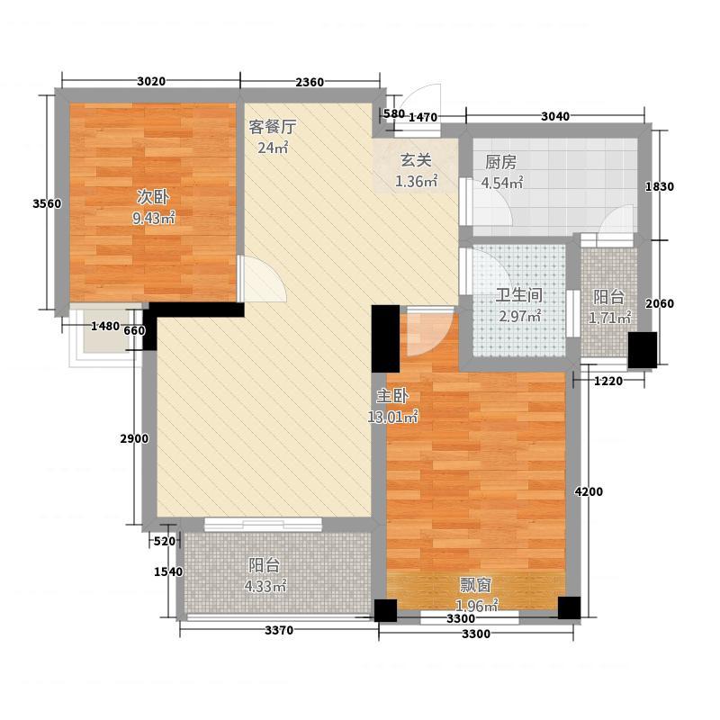 汉旺世纪城112276.32㎡c户型2室2厅1卫1厨