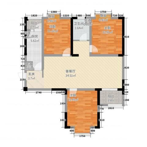 曼哈顿MOMA国际社区3室1厅1卫1厨125.00㎡户型图