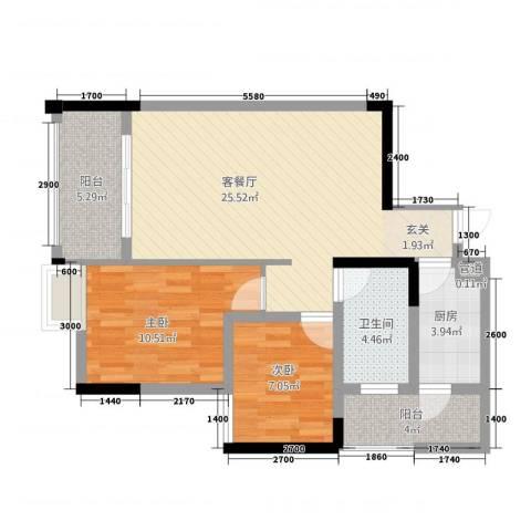 鸥鹏・天境2室1厅1卫1厨228.00㎡户型图