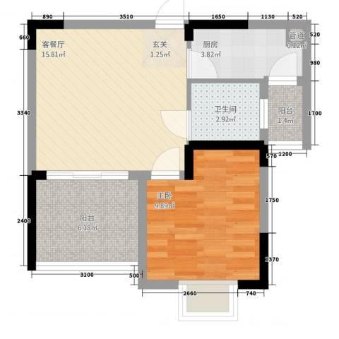 半岛阳光1室1厅1卫1厨40.14㎡户型图