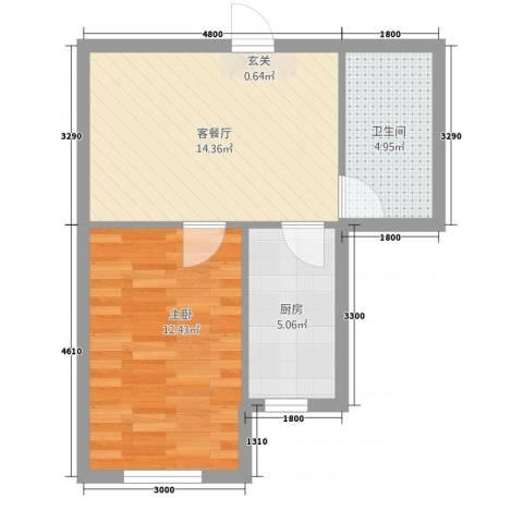 东盛澳景园1室1厅1卫1厨36.79㎡户型图