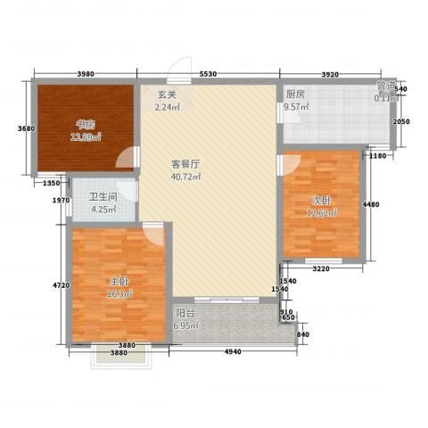 巴比伦花园3室1厅1卫1厨145.00㎡户型图