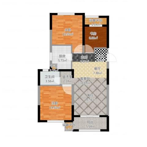 景瑞望府3室1厅1卫1厨119.00㎡户型图