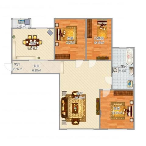 第七领地3室2厅1卫1厨134.00㎡户型图