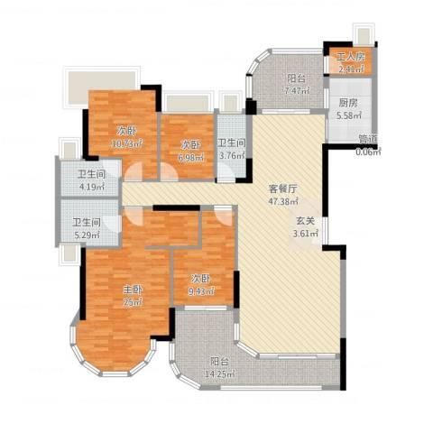 珠江御景湾4室1厅3卫1厨201.00㎡户型图