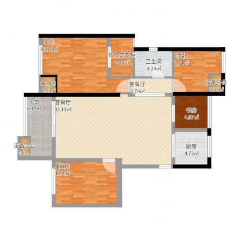 恒大晶筑城4室2厅1卫1厨139.00㎡户型图
