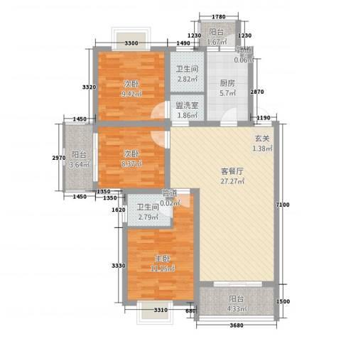 年丰花园3室2厅2卫1厨115.00㎡户型图