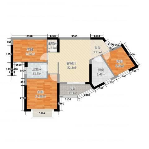 瑞海尚都3室1厅1卫1厨78387.00㎡户型图