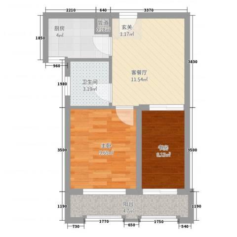东方新天地2室1厅1卫1厨58.00㎡户型图