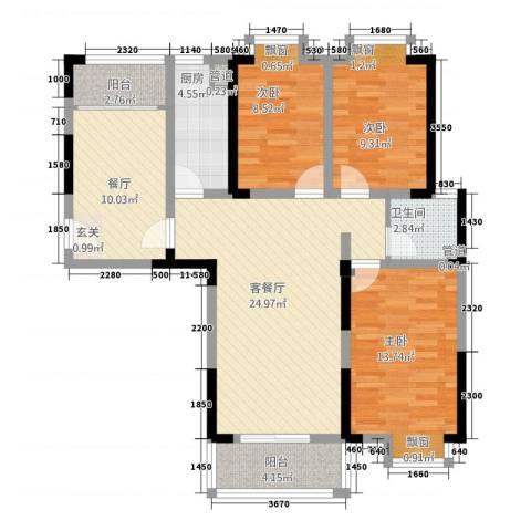 曼哈顿MOMA国际社区3室2厅1卫1厨81.13㎡户型图