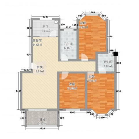 人和家园3室1厅2卫1厨139.00㎡户型图