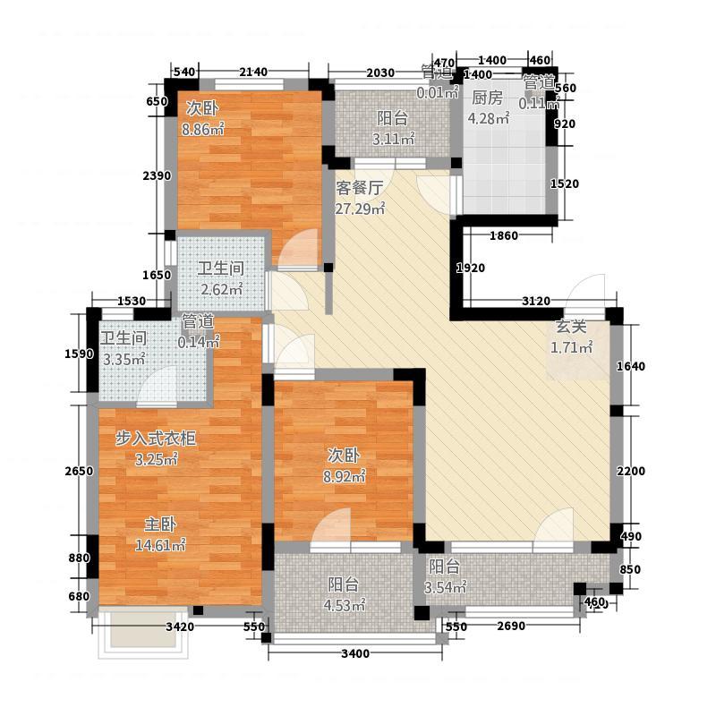 金地格林小城118.72㎡一期洋房2楼A-2户型3室2厅2卫1厨