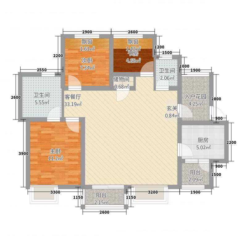 莱茵北郡3145.20㎡3期14栋标准层A2户型3室2厅2卫1厨