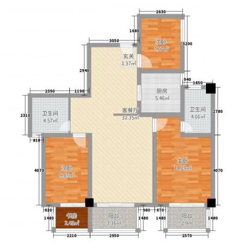 朝阳广场4室1厅2卫1厨126.00㎡户型图