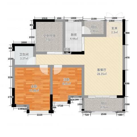 鸥鹏・天境2室1厅1卫1厨321.00㎡户型图