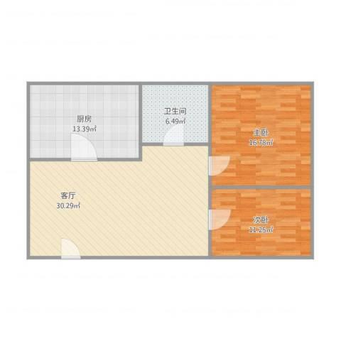 nx唐园东三街2室1厅1卫1厨104.00㎡户型图