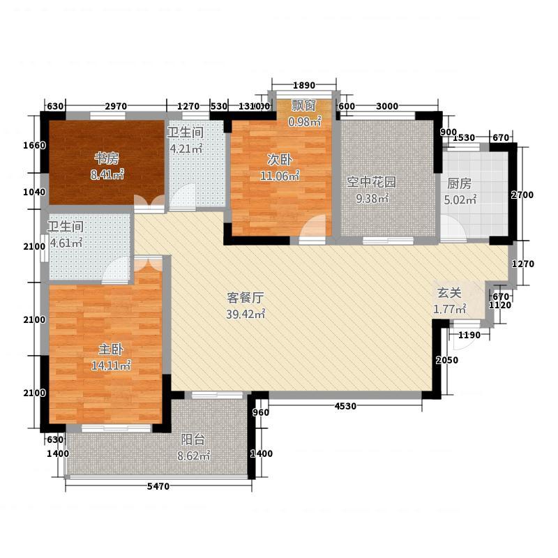 金域城邦32124.33㎡F户型3室2厅2卫1厨