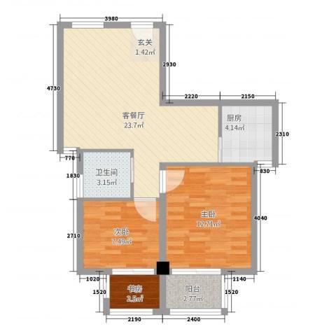 朝阳广场3室1厅1卫1厨81.00㎡户型图