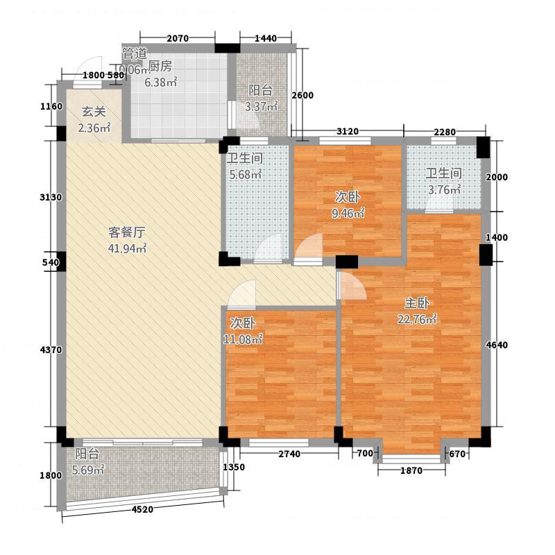 侨雅花苑412137.72㎡4期12号楼标准层03户型3室2厅2卫1厨