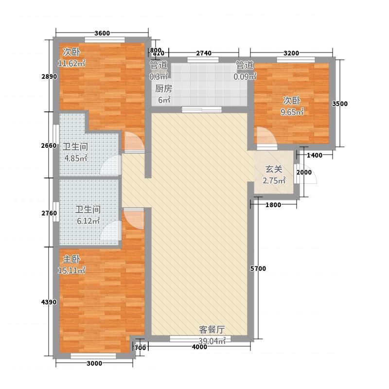 华远海蓝城12.20㎡三期C户型3室2厅2卫1厨
