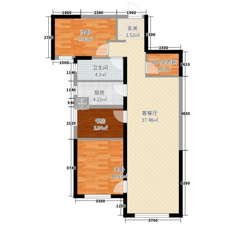 华远海蓝城415.20㎡4期B户型3室2厅1卫1厨