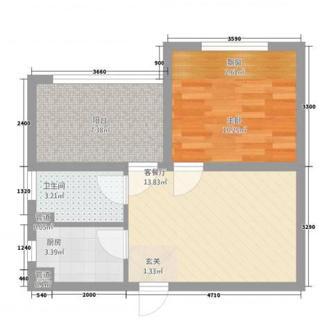 凯悦金领公寓1室1厅1卫1厨38.22㎡户型图