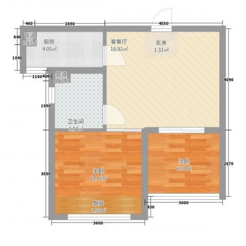 凯悦金领公寓2室1厅1卫1厨43.03㎡户型图