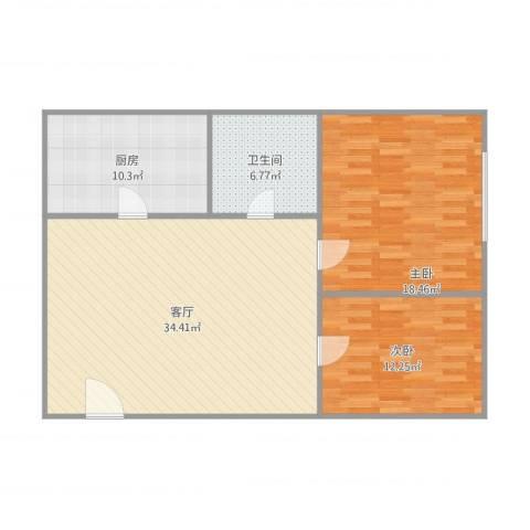 nx唐园2室1厅1卫1厨109.00㎡户型图