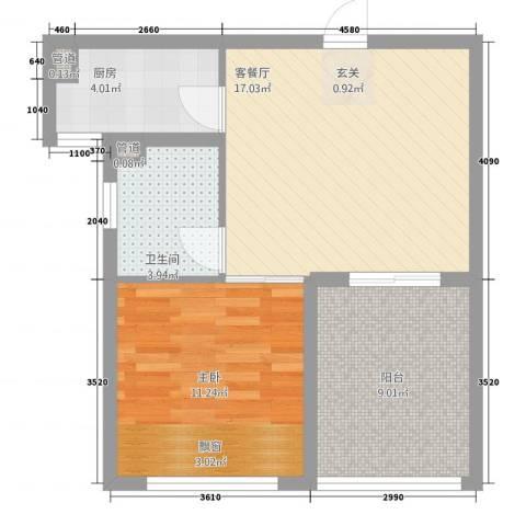 凯悦金领公寓1室1厅1卫1厨45.45㎡户型图