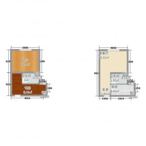 凯悦金领公寓1室1厅2卫1厨47.81㎡户型图