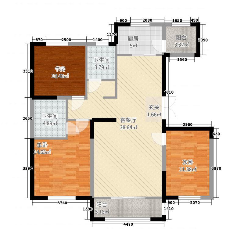 中房粹园3213.20㎡D户型3室2厅2卫1厨